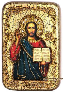 Господь Вседержитель, Иисус Христос, подарочная икона на дубе, малая