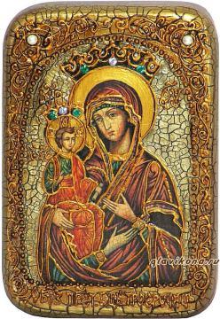 Троеручица Божия Матерь, подарочная икона на дубе, малая