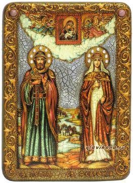 Петр и Феврония икона подарочная 10х15 см