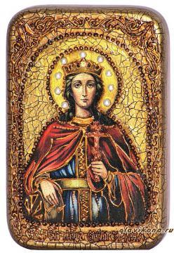 Екатерина Великомученица, подарочная икона на дубе, малая