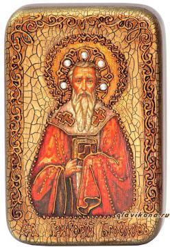Григорий Богослов, подарочная икона на дубе, малая