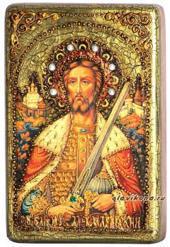 Александр Невский, подарочная икона на дубе, малая