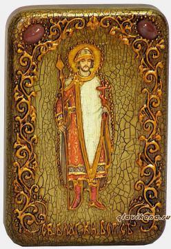 Борис благоверный княззь, подарочная икона на дубе, малая