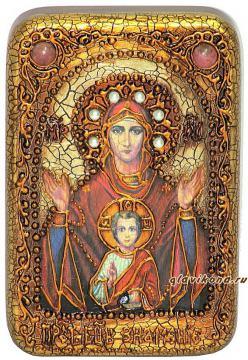 Знамение Божия Матерь, подарочная икона на дубе, малая