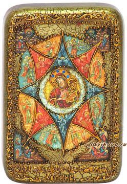 Неопалимая купина Божия Матерь, подарочная икона на дубе, малая