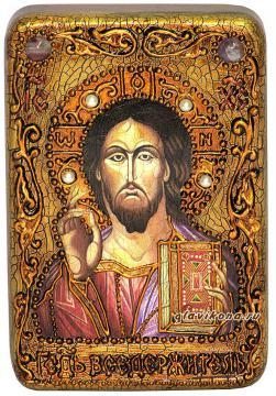 Господь Вседержитель (оплечный) икона подарочная 10х15 см