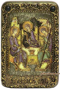 Святая Троица, темный фон, подарочная икона на дубе, малая