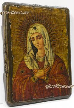 Умиление Божия Матерь, икона искусственно состаренная