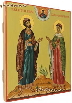 Икона Петр и Феврония в византийском стиле, артикул 819 - вид сбоку
