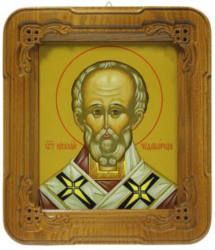 Киот с иконой Николая Чудотворца
