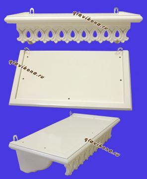 Полочка для икон маленькая белая, 36 сантиметров - вид с разных сторон