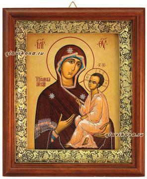 Тихвинская Божия Матерь, икона на холсте в широком киоте