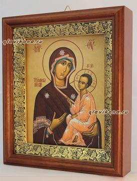 Тихвинская Божия Матерь, икона на холсте в широком киоте - вид сбоку