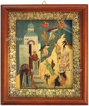 Лествица Иоанна Лествичника, икона на холсте в широком киоте