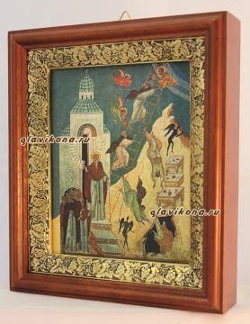 Лествица Иоанна Лествичника, икона на холсте в широком киоте - вид сбоку