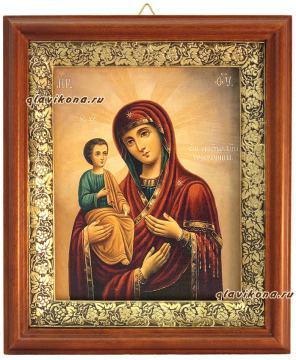 Троеручица Божия Матерь, икона на холсте в широком киоте - вид сбоку