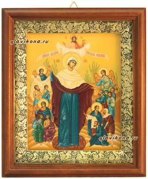 Всех Скорбящих радость, икона на холсте в широком киоте