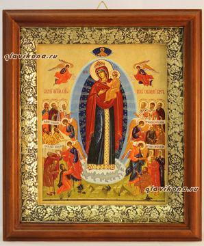 Всех Скорбящих радость (Харбинская), икона на холсте в широком киоте