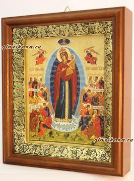 Всех Скорбящих радость (Харбинская), икона на холсте в широком киоте - вид сбоку