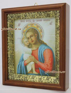 Взыскание погибших Божия Матерь, икона на холсте в широком киоте - вид сбоку