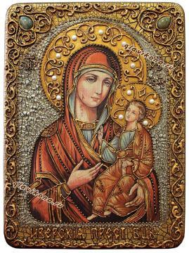 Иверская, икона под старину с камнями