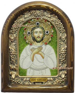 Икона святого Алексия, сделанная бисером