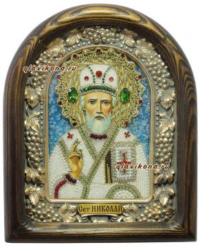 Николай, святитель Мирликийский, икона бисером