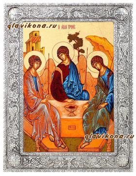 икона Троица в окладе