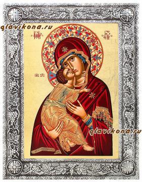 Владимиская икона шелкография, оклад