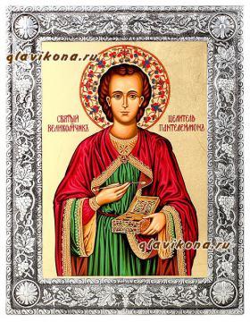 Святой целитель Пантелеймон, икона в окладе
