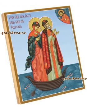 Образы святые Петра и Феврони, плывущие в лодке, артикул 820 - вид боку