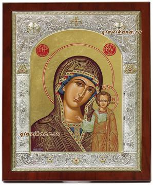 Икона Казанской БМ в серебре