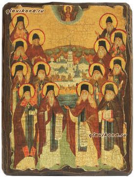 Оптинские старцы - состаренная икона