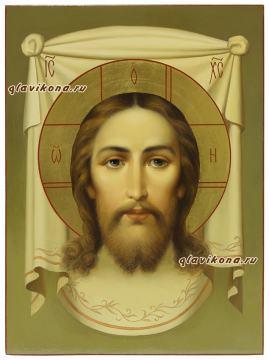Рукописная икона Спаса Нерукотворного в живописном стиле артикул 635