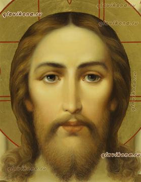 Рукописная икона Спаса Нерукотворного, написанная маслом, артикул 635 - детали лика