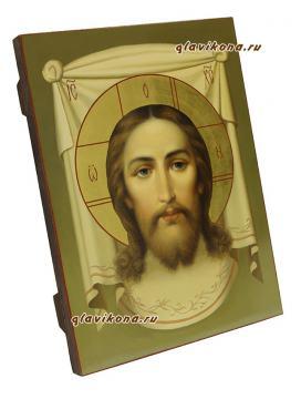Рукописная икона Спаса Нерукотворного, написанная маслом, артикул 635 - вид сбоку