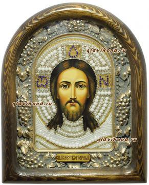 Спас Нерукотворный, икона из бисера в киоте