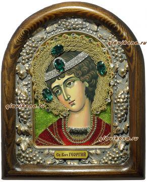 Икона Георгия Победоносца из бисера в киоте