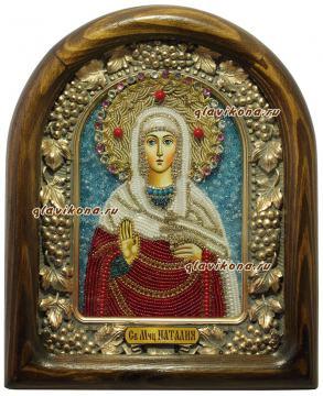 Наталья Никомидийская, икона из бисера в киоте