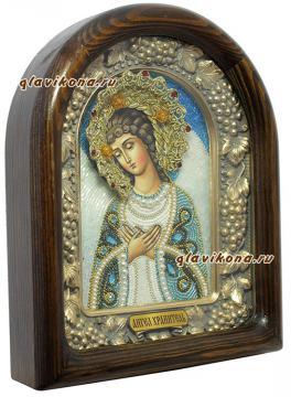 Ангел Хранитель, вид иконы из бисера сбоку