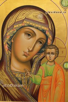 Образ Божией Матери Казанская икона палех, артикул 5302 - детали ликов Богородицы и Младенца