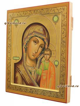 Образ Божией Матери Казанская икона палех, артикул 5302 - вид сбоку