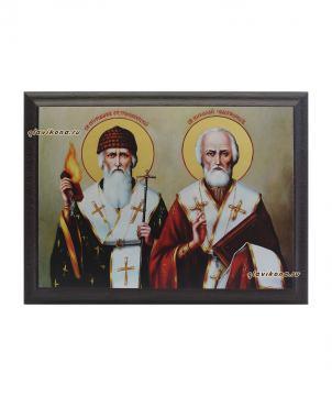 Спиридон и Николай, подарочная икона на металле