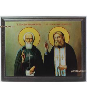 Серафим Саровский и Сергий Радонежский, икона подарочная