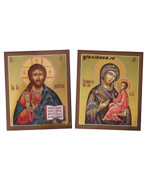 Венчальная пара с Тихвинской Божией Матерью