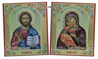 Пара икон для венчания с чеканкой, артикул 342, детальный вид