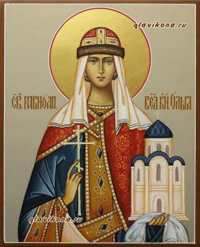 Святая Ольга равноапостольная, рукописная икона