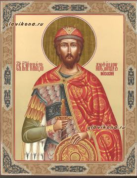 Икона писаная Александра Невского с узорами, артикул 6117
