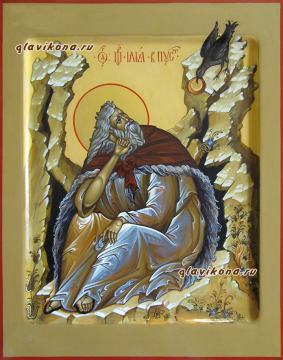 Илия Пророк в пустыне, икона артикул 6143