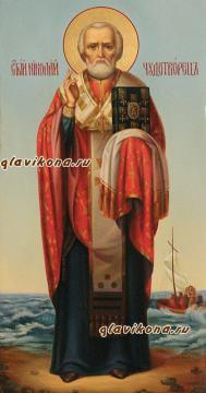 Икона Николая Чудотворца написанная маслом